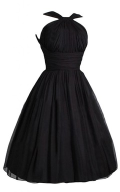 Halter Black Pleated and Ruffle Ball Gown
