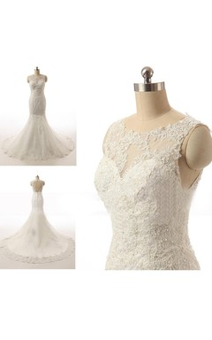 Bateau Neck Mermaid Lace Wedding Dress With Appliques