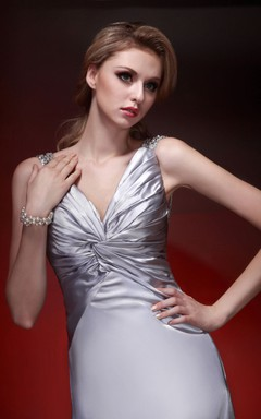 Plunged Central-Ruched Floor-Length Gown Beaded Straps