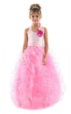 Halter Ruffled Dress With Flowers and Pleats