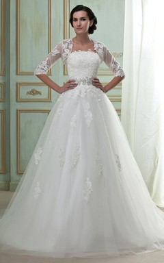 Strapless Lace A-Line Gown With Bolero and Tulle Overlay