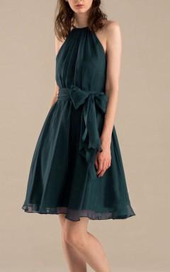 A-line Mini Knee-length Tea-length High Neck Sweetheart Backless Chiffon Dress With Bow