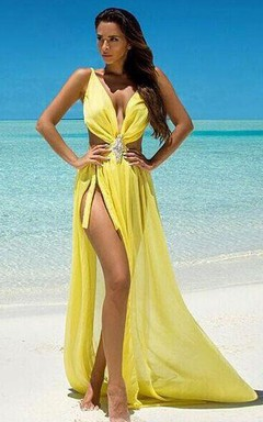 Floor-length V-neck Sleeveless Chiffon Dress with Split