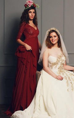 Burgundy Wedding With Empire Waist Dress