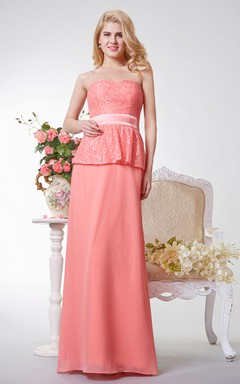 Backless A-line Long Chiffon Dress With Lace and Sash