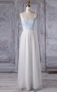 A-line Floor-length Sweetheart Backless Chiffon&Tulle Dress