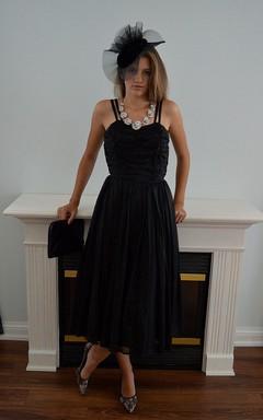 Classic Tea-length A-line Chiffon Dress With Spathetti Straps
