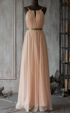 2016 Long Bridesmaid Peach Chiffon Dress