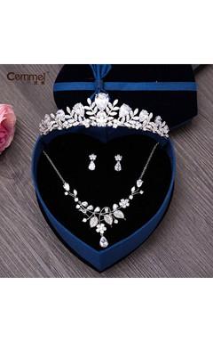 Korean Bride Zircon Crown Necklace Three Sets Of Wedding Dress Wedding Dress Accessories
