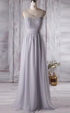 Floor-length Sweetheart Chiffon&Tulle Dress With Beading&Illusion