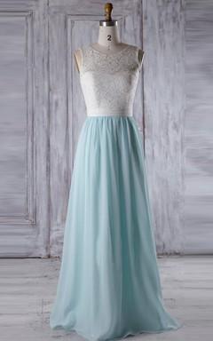 Long Sweetheart Chiffon&Lace Dress With Illusion