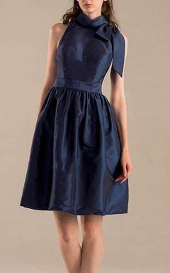 A-line Mini Knee-length High Neck Taffeta Dress