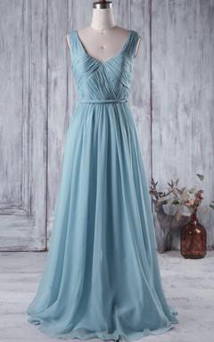 Long V-neck Chiffon Dress With Low-V Back