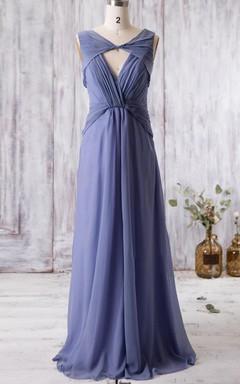 Floor-length V-neck Chiffon Dress