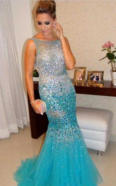 Glamorous Sleeveless Beadings Crystals Prom Dresses 2016 Mermaid Tulle Party Gowns