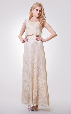Dramatic Scoop Neckline Long Lace Dress