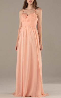Floor-length Spaghetti Strapped Sweetheart Chiffon Dress With Criss cross