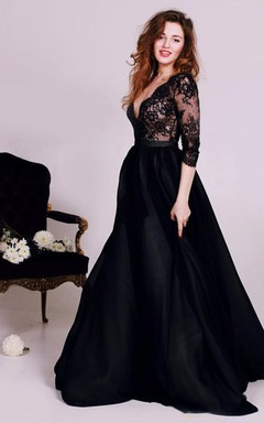 Sexy Black Lace Appliques V-neck 2016 Evening Dress 3/4-Length Sleeve A-line