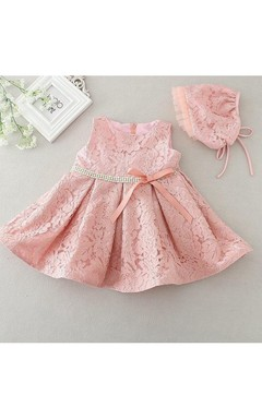 Boho Latest Sleeveless Lace Set of One Year Old Baby Girl Baptism Dress With Beaded Waist