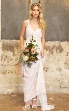 V-Neck Satin Bowed Sash Ribbon Lace Backless Wedding Dress