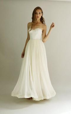 Lace And Chiffon Strapless Gown Samantha Size 10 Dress