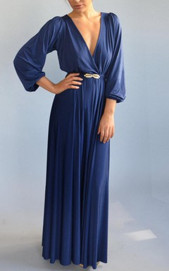 Fall Blue Evening Floor Length Bell Shape Golden Feather Belt Full Circle Skirt Dress