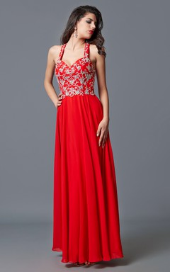Flattering Halter Neckline Formal Dress Jeweled Bodice Ethereal Airy Skirt