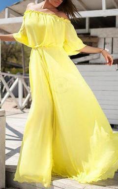 Long Off-the-shoulder Chiffon&Jersey Dress