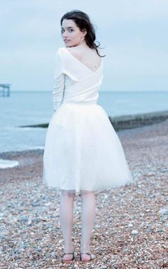 Short Mini Long Sleeve Tulle Wedding Dress