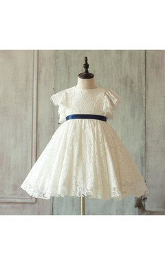 Off White Ruffled Sleeve Pleated A-line Lace Gown With Sash