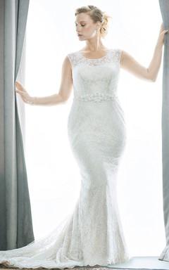 Trumpet Long Scoop Neck Sleeveless Lace Flower Waist Jewellery Court Train Low-V Back Waist Jewellery Dress