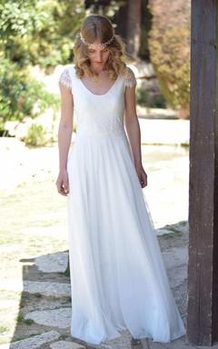 V-Neck Short Sleeve Chiffon Floor-Length Wedding Dress With Lace
