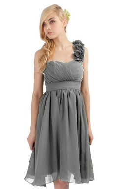 One-shoulder Knee-length Empire Dress With Floral Strap