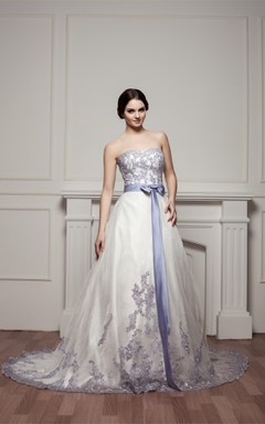 Sweetheart Appliqued A-Line Gown with Ribbon and Court Train