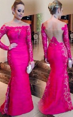 Newest Fuchsia Long Sleeve Mermaid Evening Dress 2016 Lace Off-the-shoulder