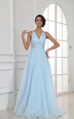 Halter Floor-Length V-Neck A-Line Gown With Sequined Waist