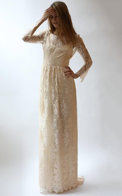 Long Sleeve 2 Piece Peach Lace And Silk Wedding Dress
