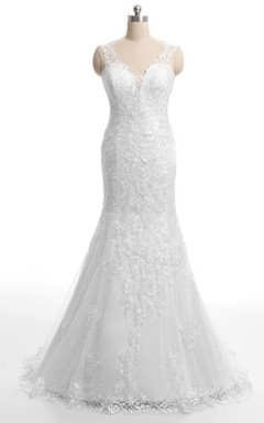 Trumpet Backless Lace Dress With Embroideries Low-V Back