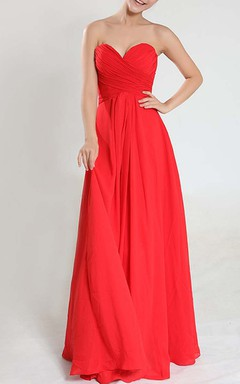 Sweetheart Empire Chiffon Floor-length Dress With Criss-Cross Pleats