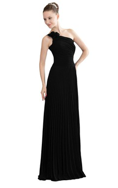 One-shoulder Long Chiffon Dress With Pleats and Flower