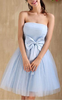 Mini A-line Strapless Pleats Bow Straps Tulle Dress