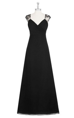 Empire V-Neck A-Line Chiffon Dress With Ruching and Lace Top