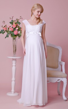 Graceful Empire Cap-sleeved Allover Chiffon Gown With Bow