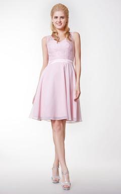 Short V Neck Lace and Chiffon Bridesmaid Dress