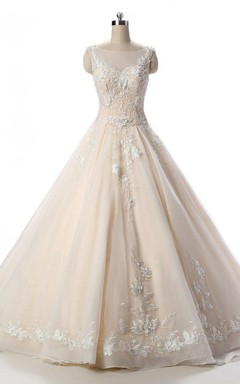 Lace Organza Weddig Dress With Beading
