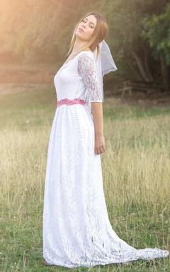 Boho Lace Sheath Floor-Length Wedding Dress With Illusion And Appliques