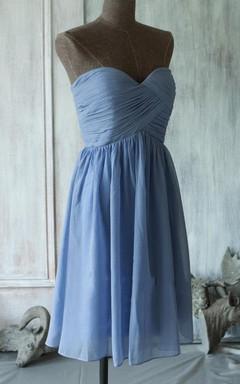 A-line Mini Knee-length Strapped Sweetheart Chiffon Dress