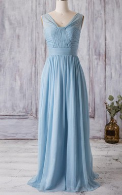 Pleated Chiffon Long Bridesmaid Dress With V Back