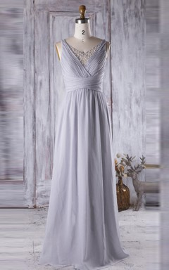 Long Spaghetti Strapped V-neck Chiffon&Tulle Dress With Beading