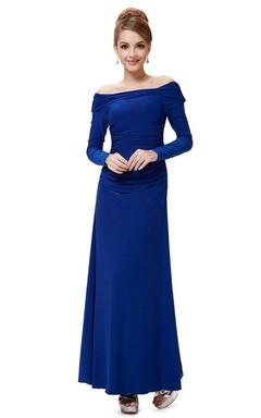 Off the Shoulder Long Sleeve Jersey Dress